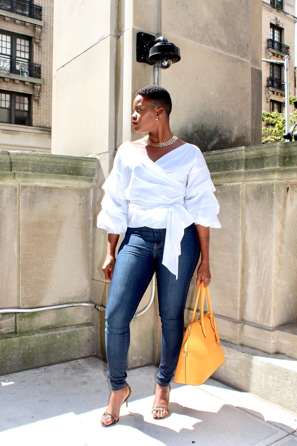 How To Wear the Ruffle Sleeve Wrap Blouse