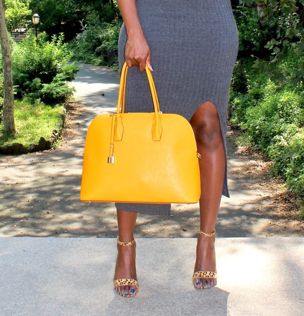 Yellow Dome Satchel with Leopard Heels