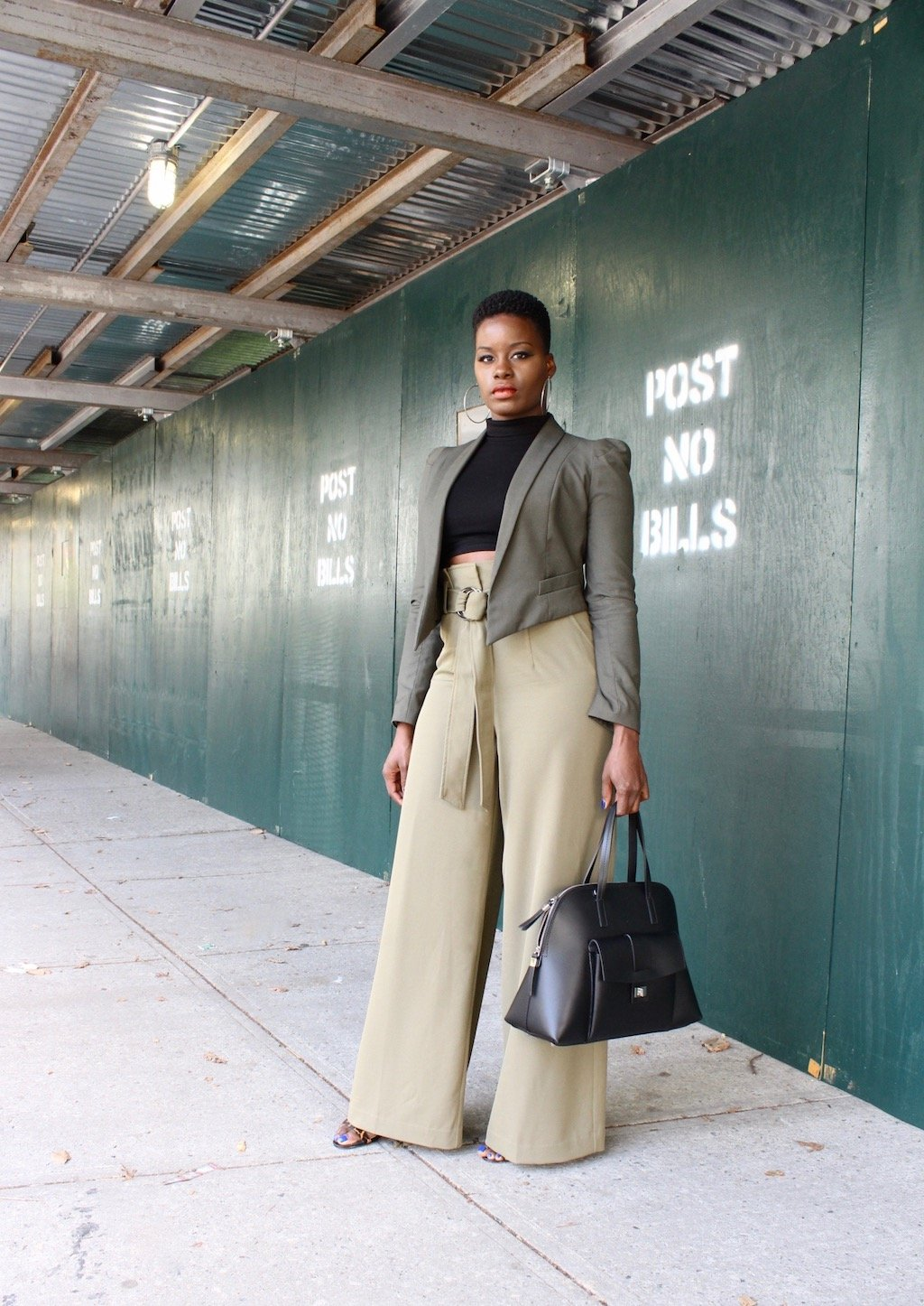 NYFW Outfit Paperbag Waist Palazzo Pants