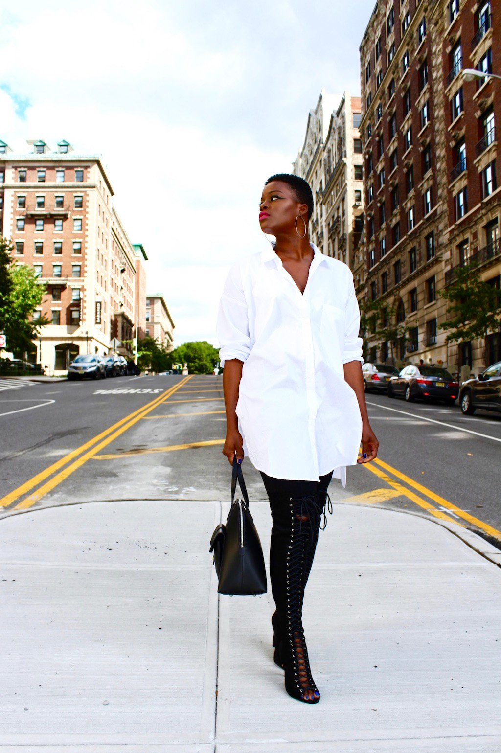Oversized White Button Down Shirt & Lace Up OTK Boots Outfit