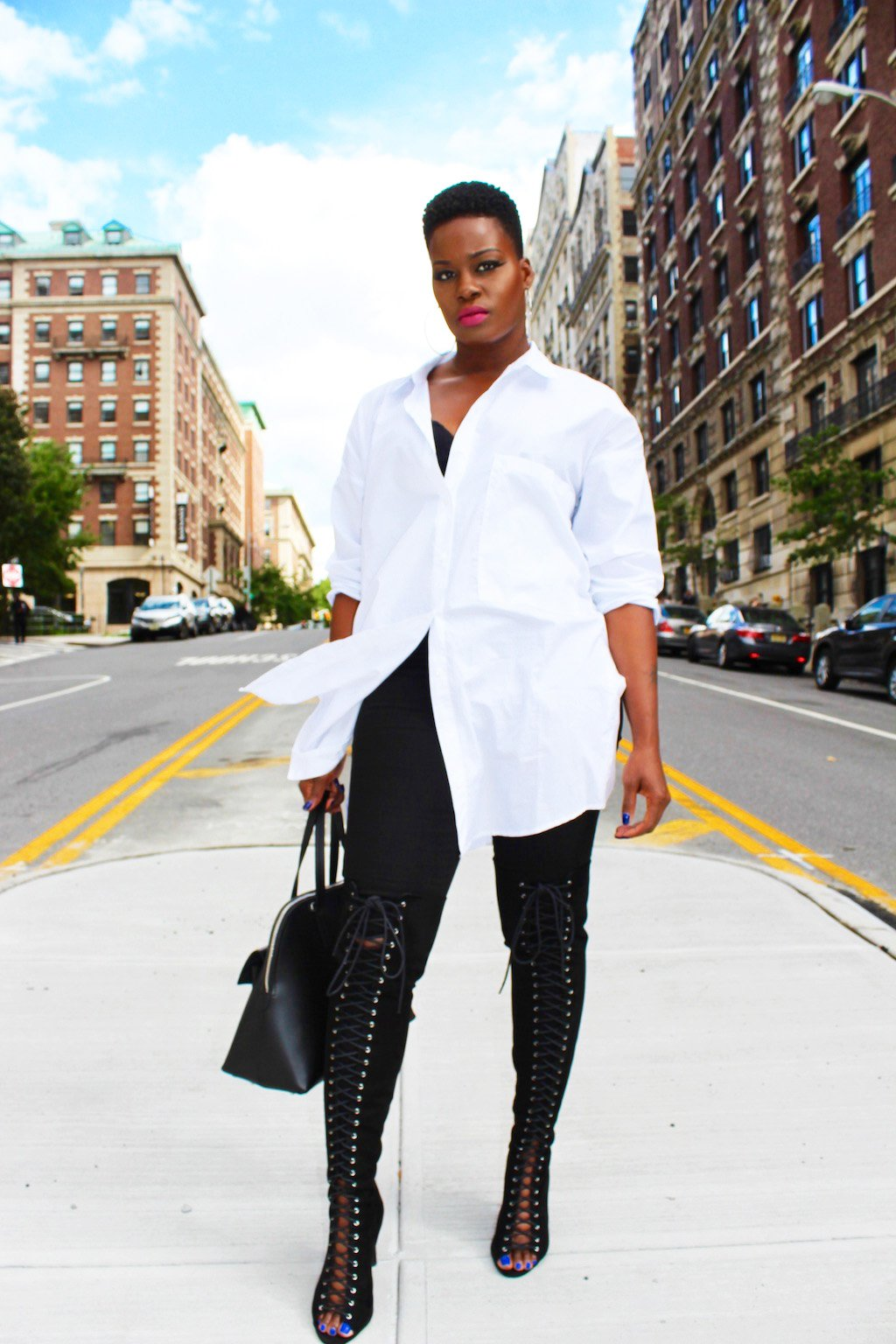 Simply Slaying NYFW In An Oversized White Button Down