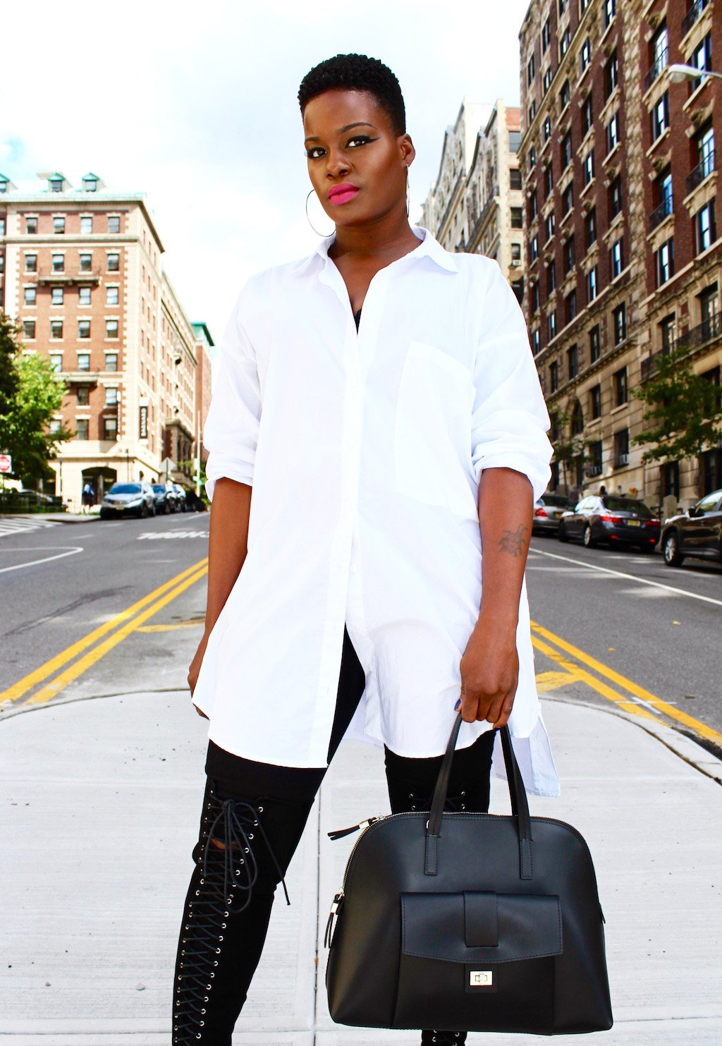 Oversized whie Button Down Shirt Outfit