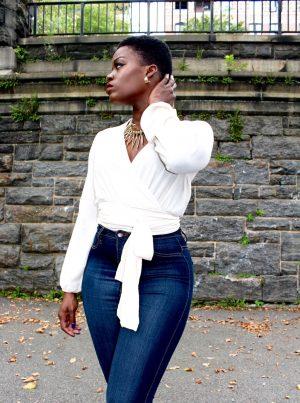 Fashion Nova Wrap Blouse Outfit