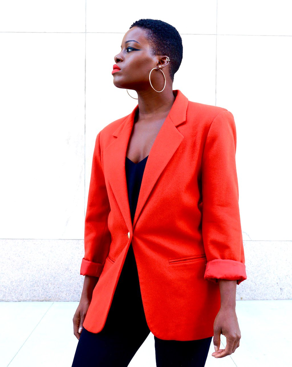 Vintage Burnt Orange Blazer Outfit