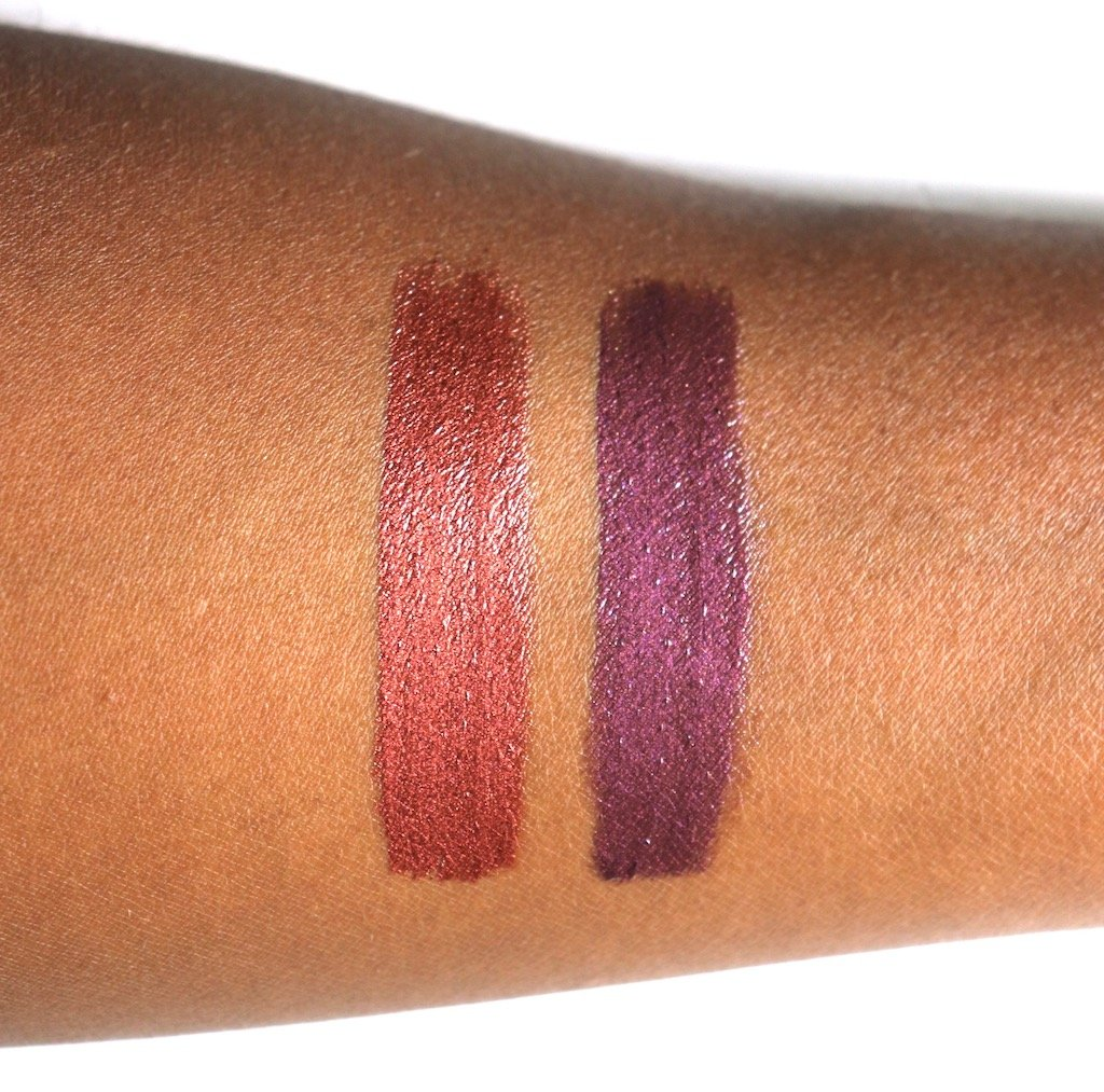 Make Up For Ever Artist Metallic Gloss Taupe and Purple Swatches on Dark Skin
