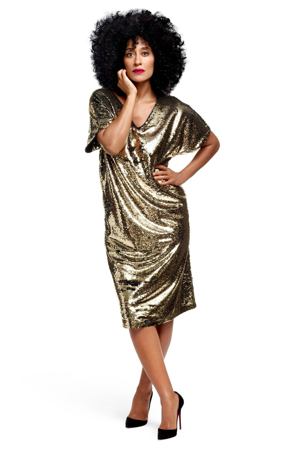 Tracee Ellis Ross x JC Penney Glow Tee Dress Gold