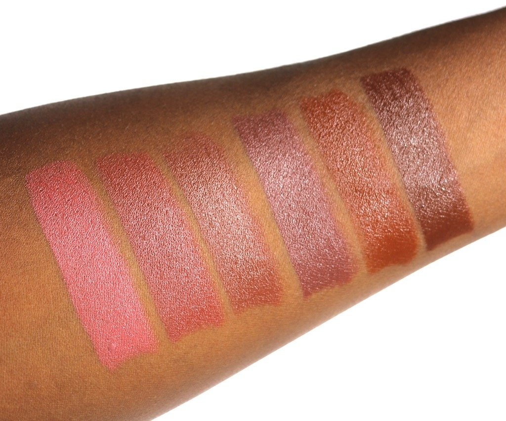 Mented Cosmetics Nude Lipsticks Swatches Pretty in Pink, Nude LaLa, Dope Taupe, Mented #5, Foxy Brown, Dark Knight