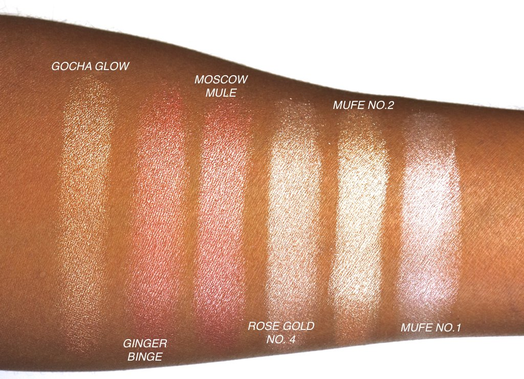 Highlighters for Dark Skin Swatches