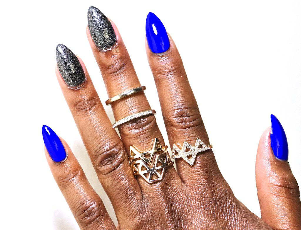 Press On Stiletto Nails Sinful Colors Endless Blue