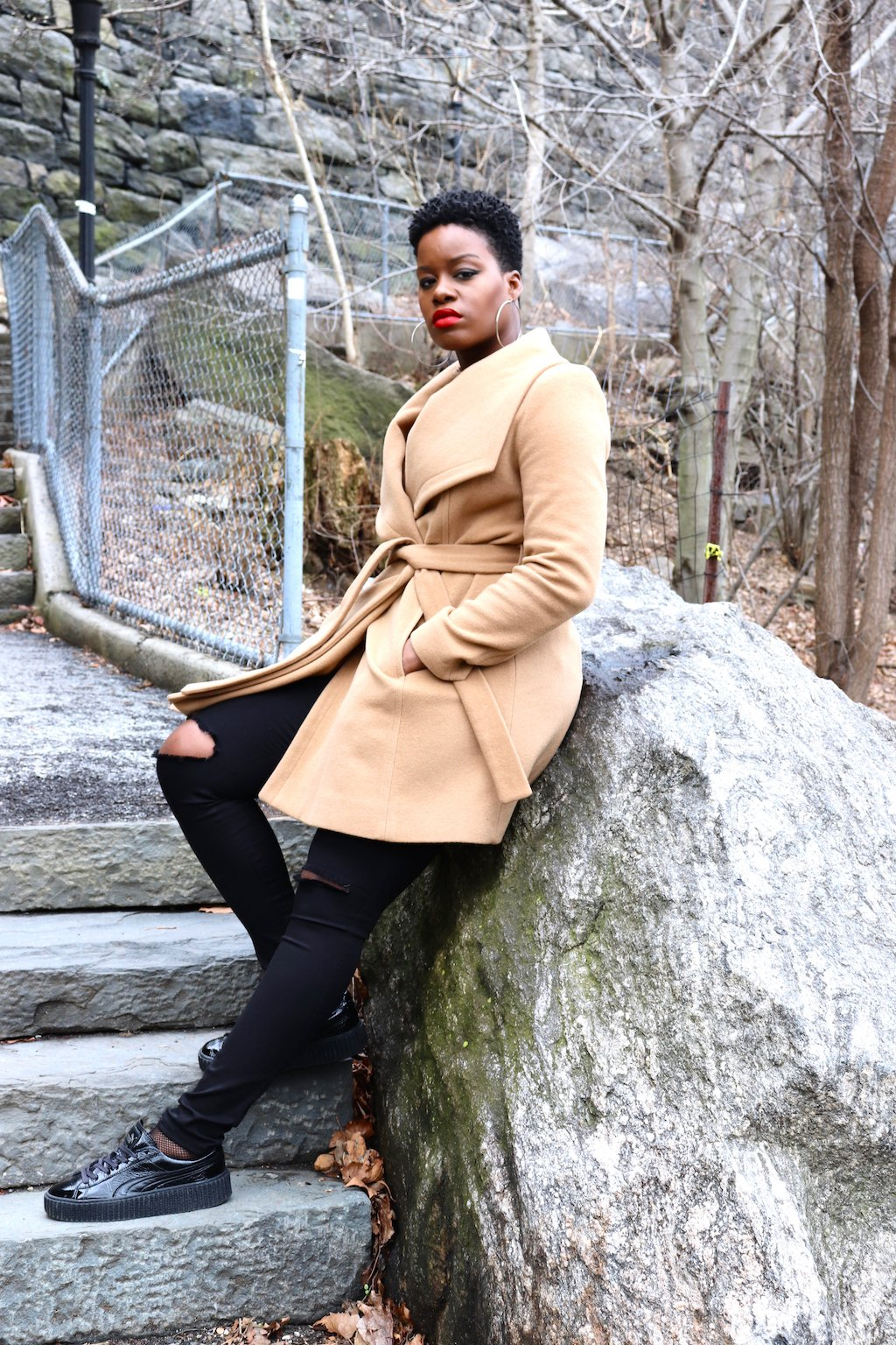 Camel Wool Coat With Chic Sneakers
