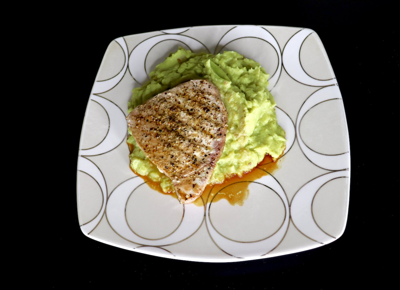 Peppered Ahi Tuna Avocado Mashed Potatoes Recipe