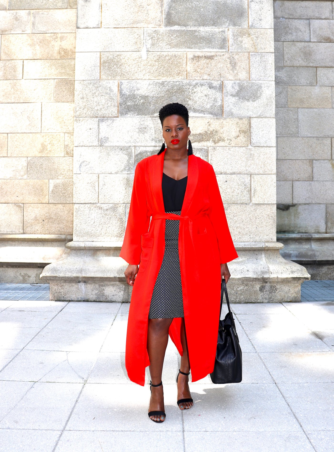 polka dot pencil skirt and red duster outfit
