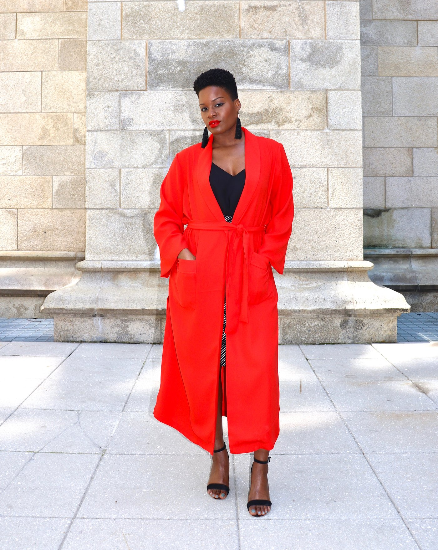 red duster coat outfit