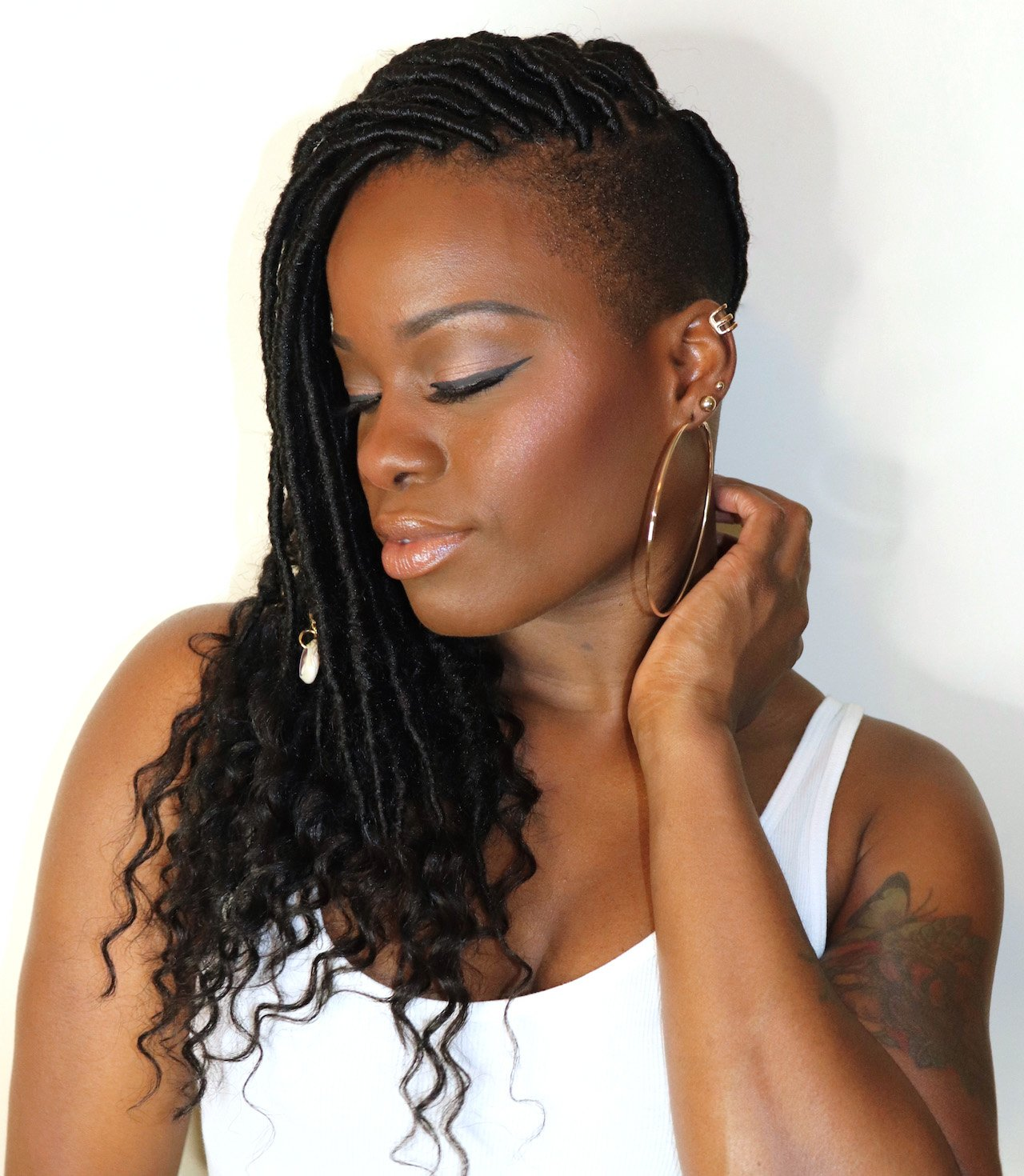Goddess Locs with Shaved Sides