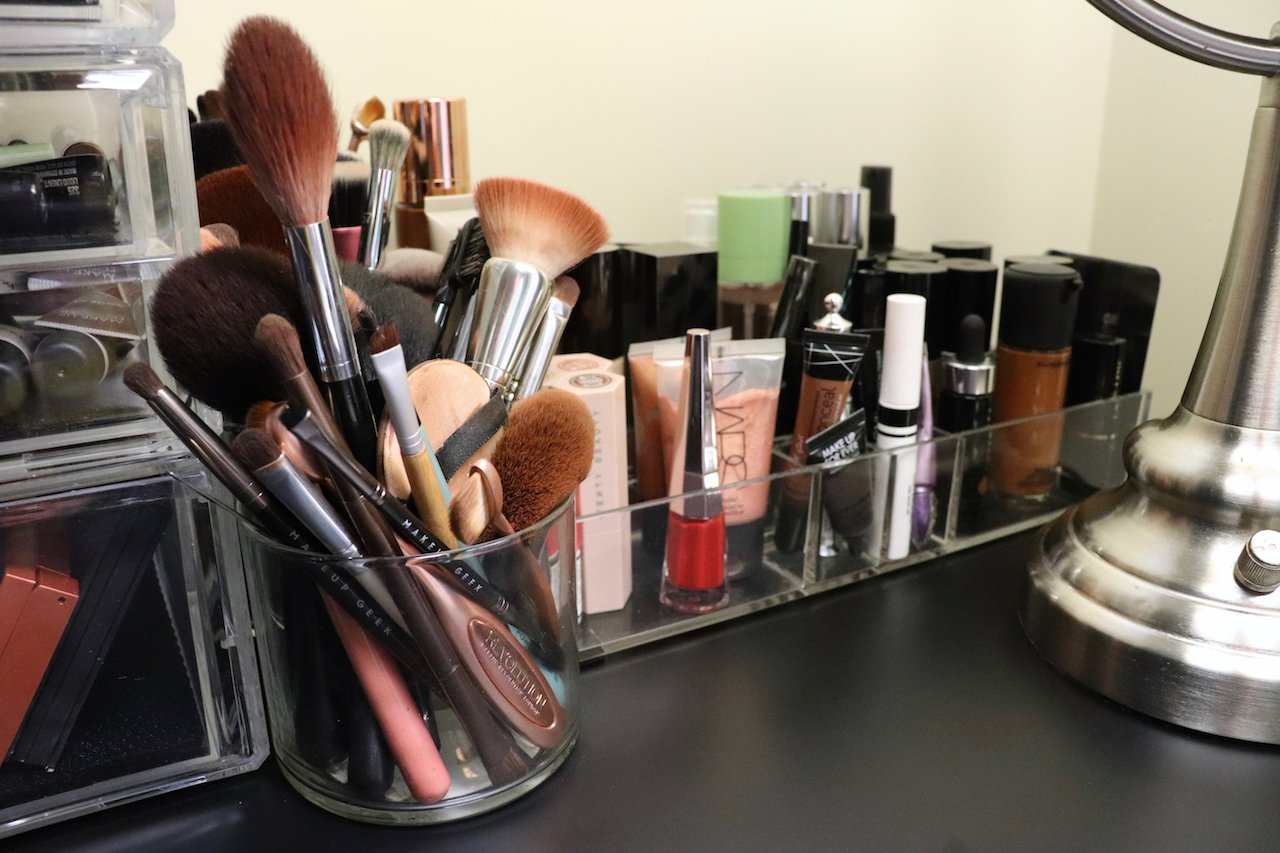 beauty area makeup storage