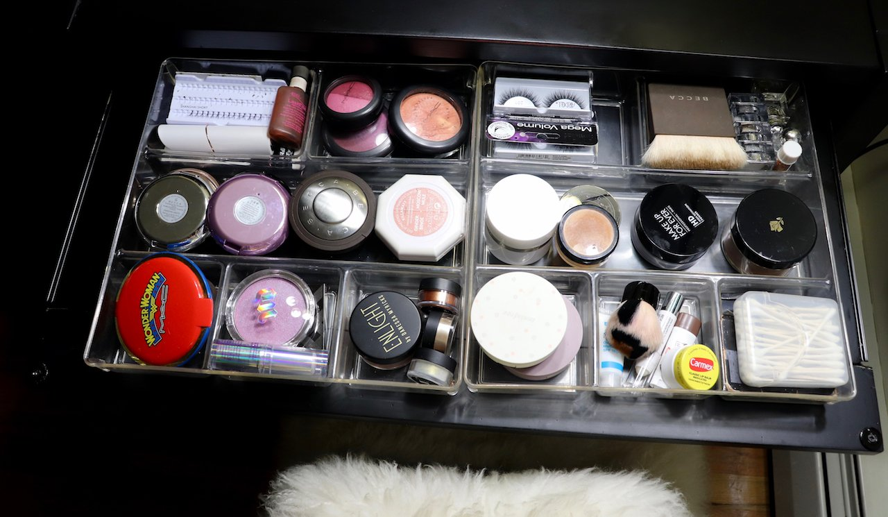 beauty area acrylic drawer organizers