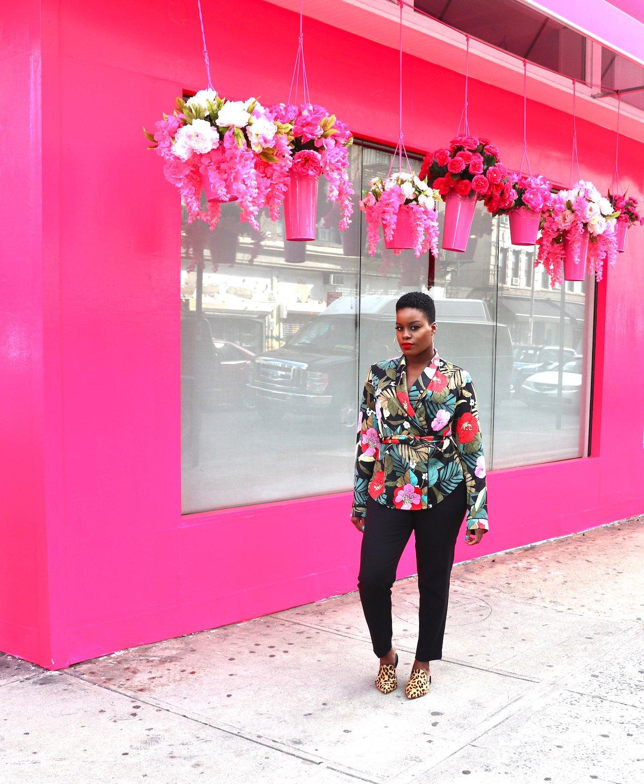 Spring 2020 Fashion Tropical Print Wrap Blouse