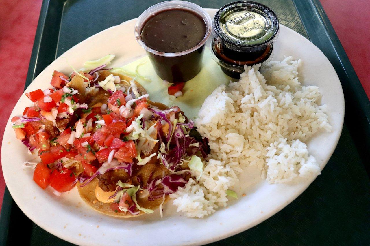 LA Original Farmers Market Loteria Grill Red Snapper Tacos
