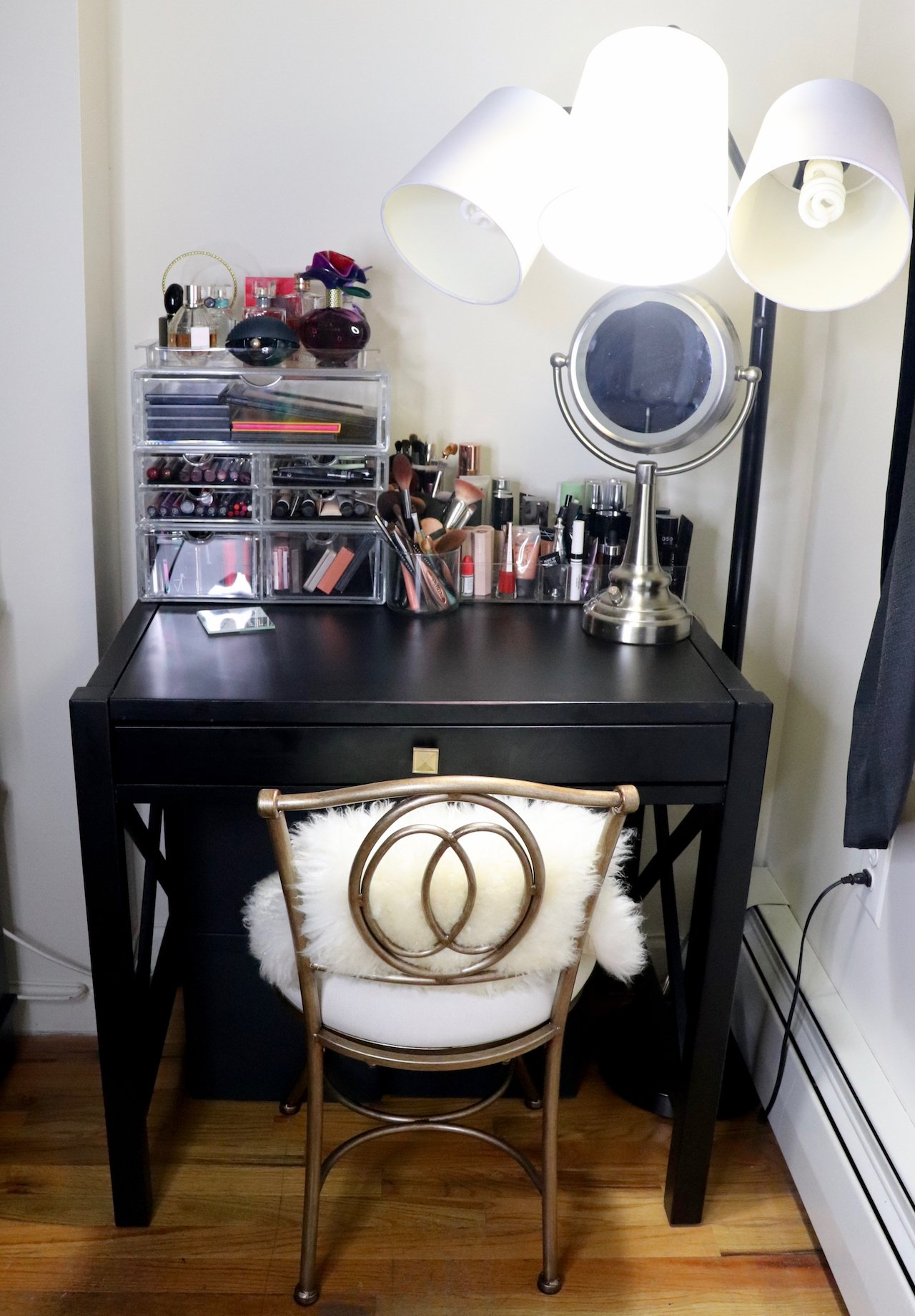 Living room makeover beauty area