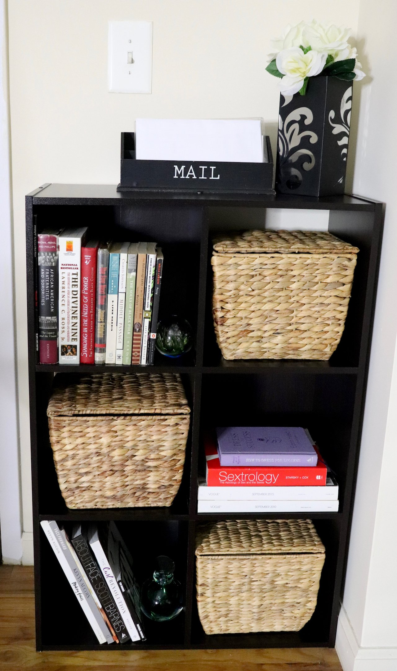 living room makeover entryway cube storage