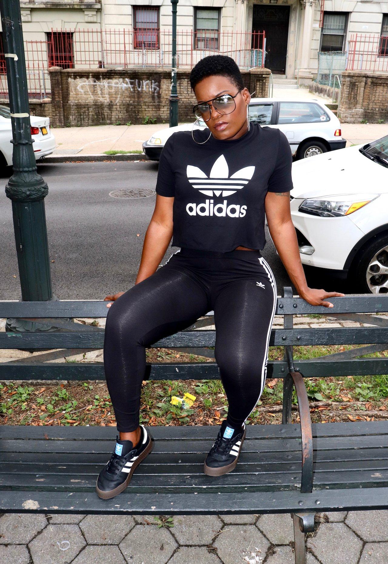 Adidas 3 Stripe Leggings, Trefoil Tee and Samba Rose Sneakers