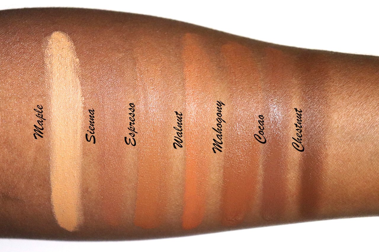 Becca Skin Love Foundation Deep Shades Swatches