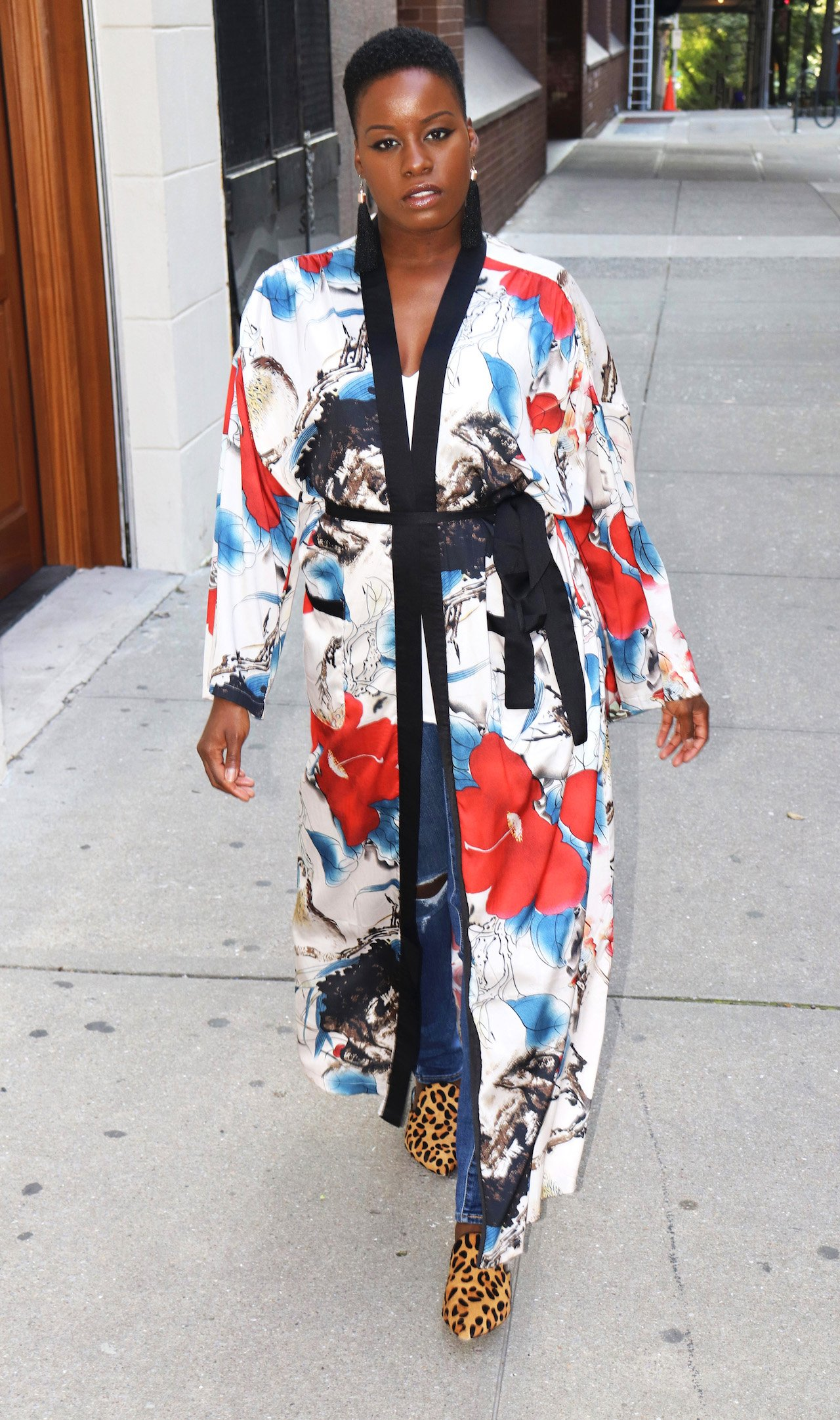 Floral Kimono with Leopard Mules Outfit