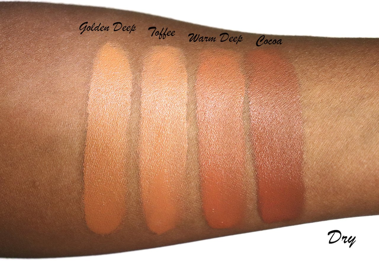 Milk Makeup Blur Foundation Swatches Dry Golden Deep, Toffee, Warm Deep, Cocoa