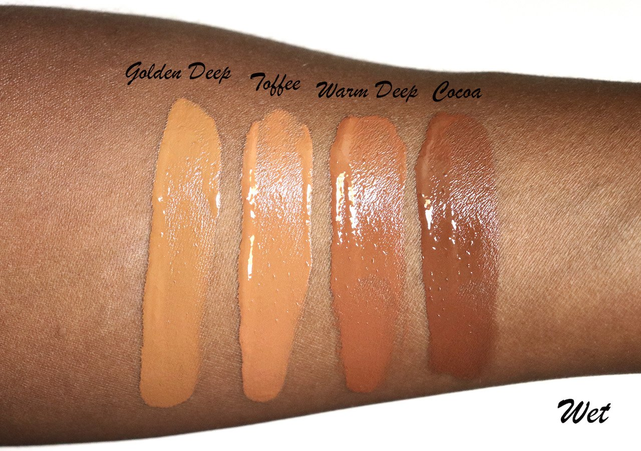 Milk Makeup Blur Foundation Swatches Wet Golden Deep, Toffee, Warm Deep, Cocoa