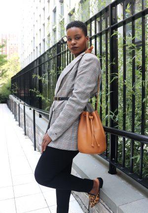 Minimalist Style Glen Plaid Blazer Outfit