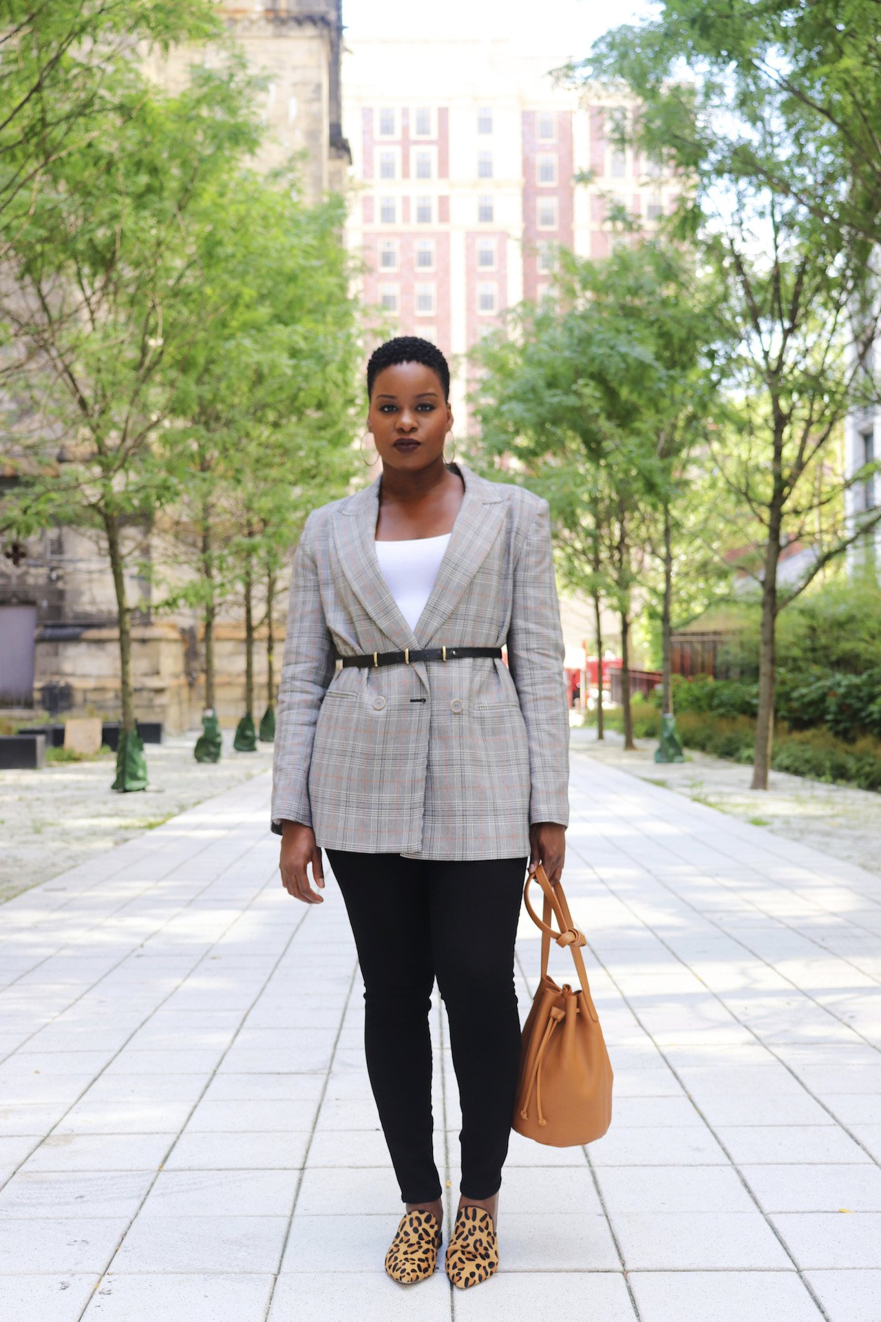 Glen Plaid Blazer with Leopard Mules Outfit