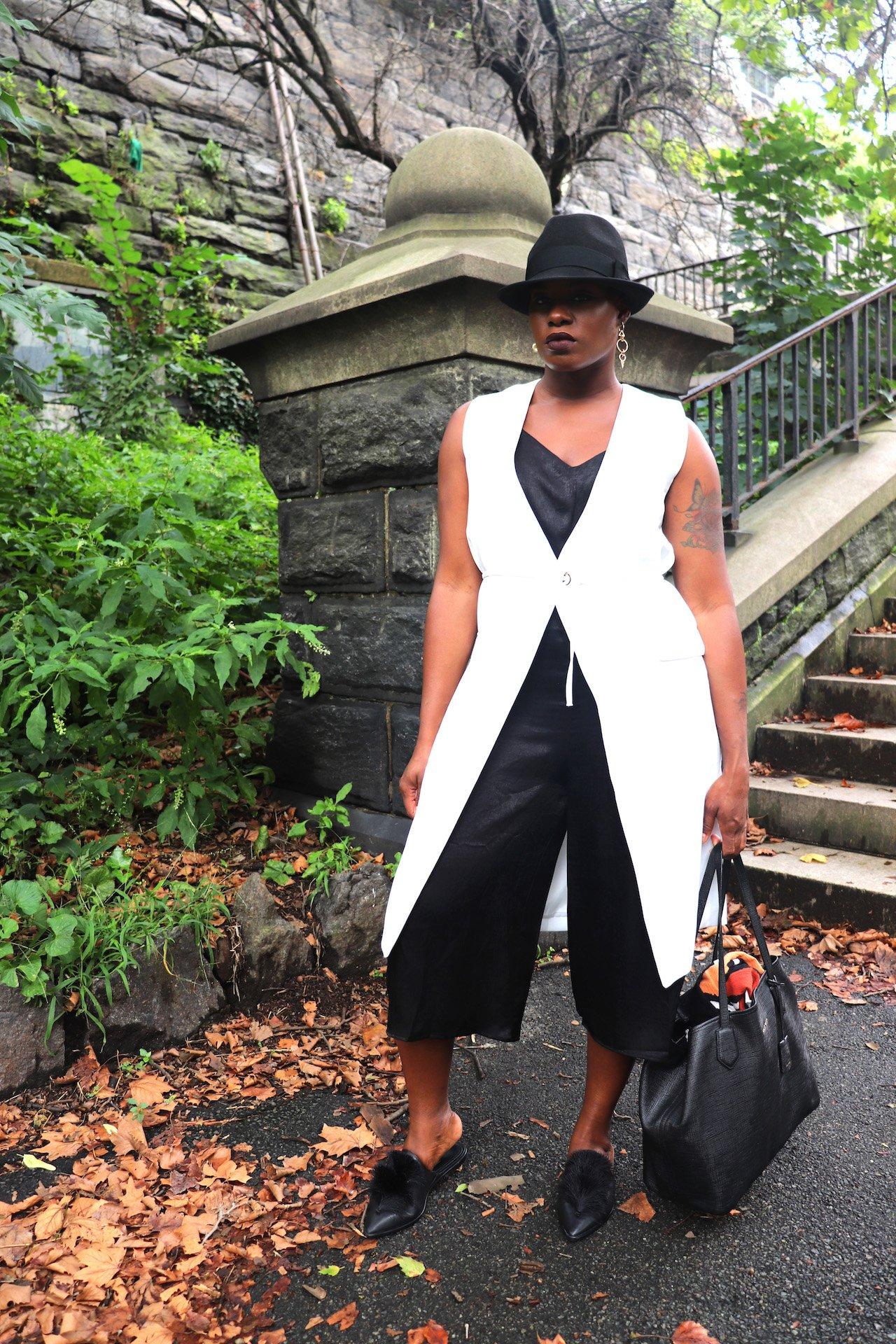 White Sleeveless Blazer Outfit