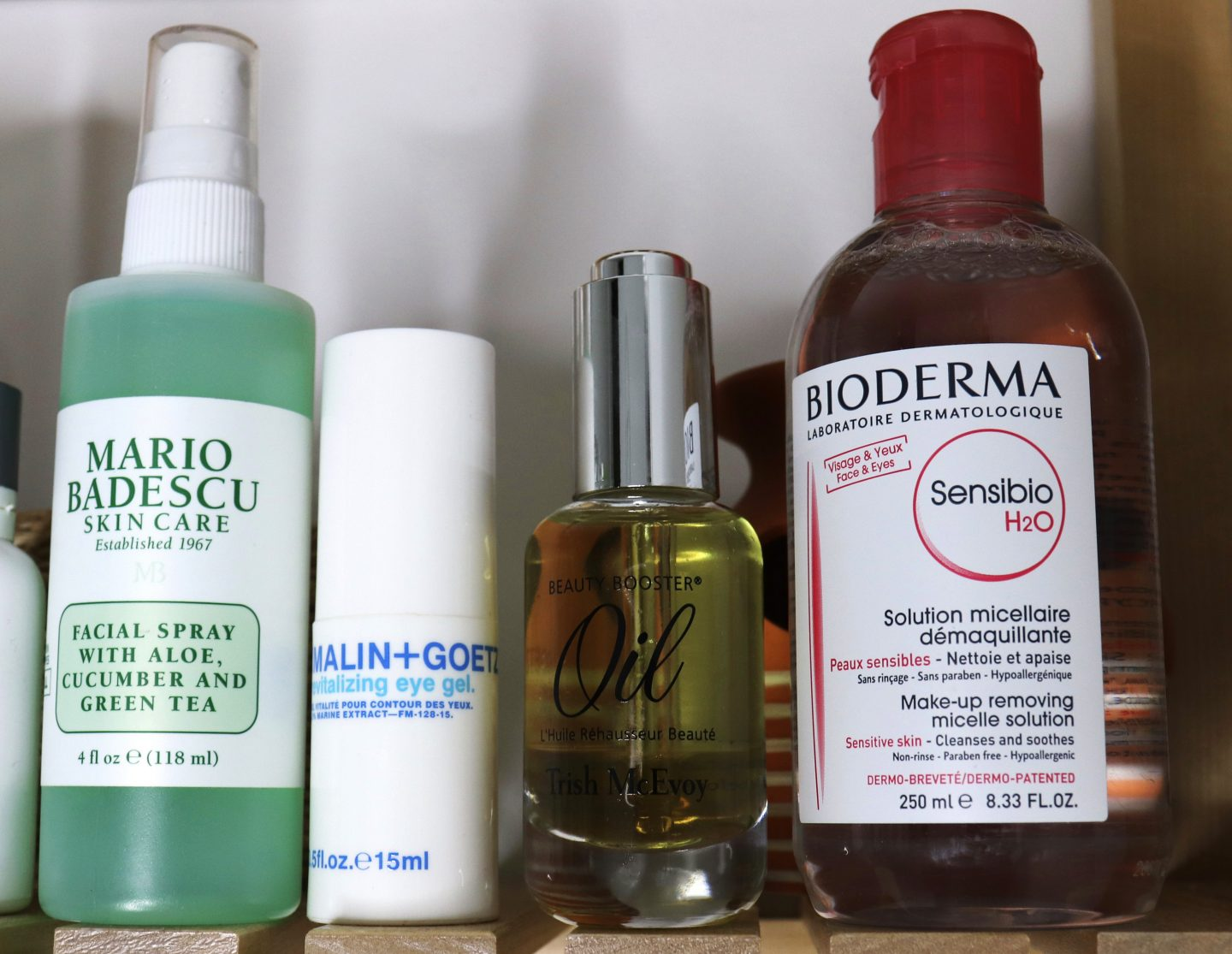 My Current Skincare Faves Mario Badecso Aloe Spray, Trish McEvoy Beauty Booster Oil, Bioderma Miscelle Water