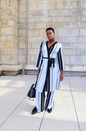Striped Kimono With Matching Pants Outfit