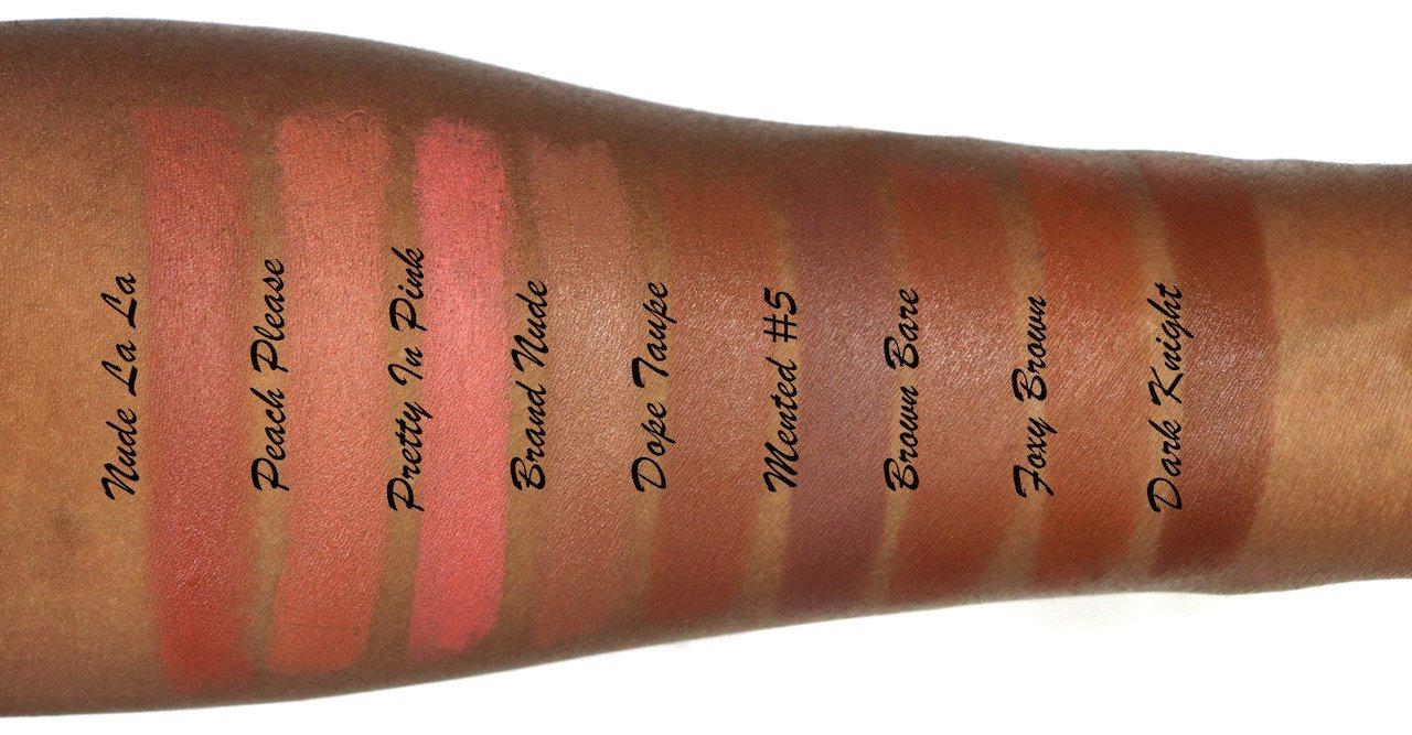 Mented Cosmetics Matte Lipstick Swatches on Dark Skin