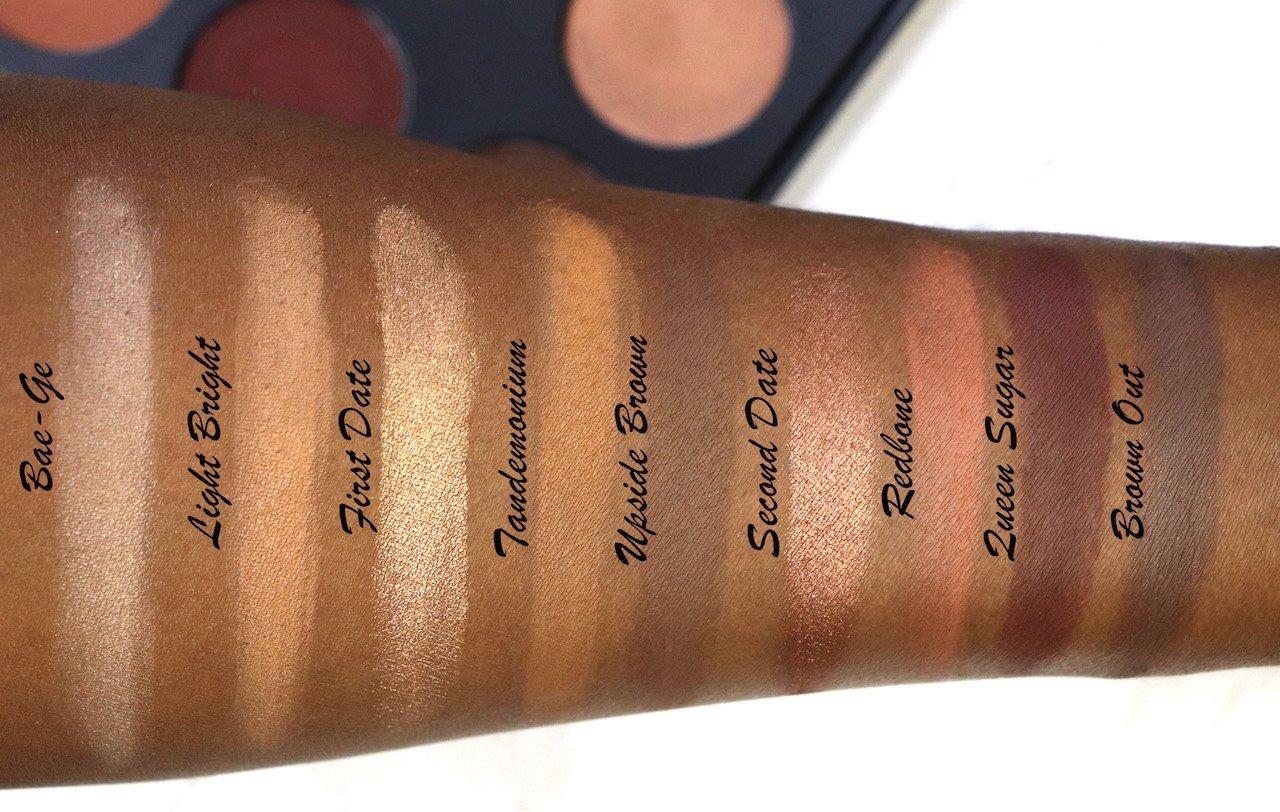 Mented Cosmetics Everyday Eyeshadow Palette Swatches on Dark Skin