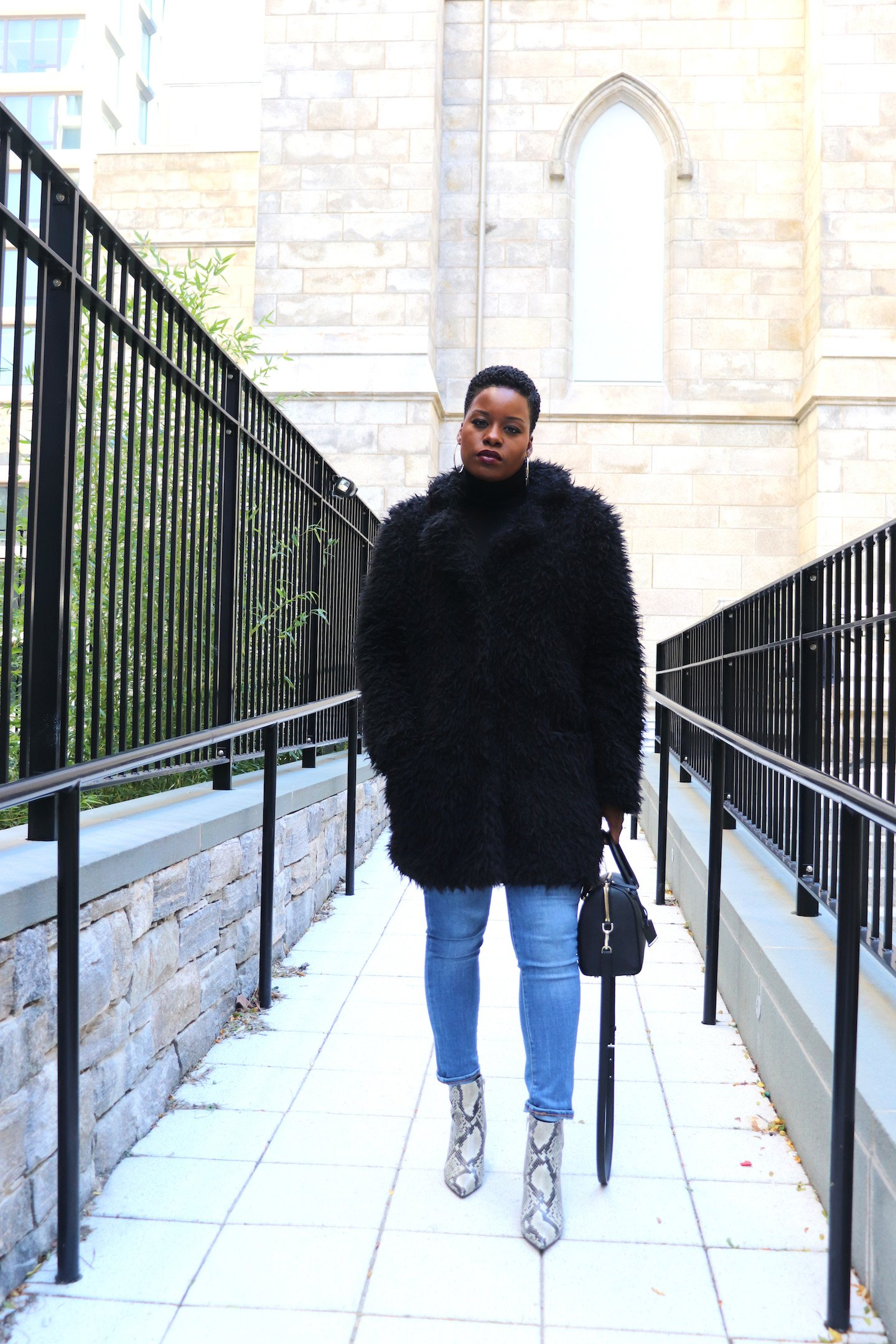 Snakeskin Ankle Boots with Teddy Bear Coat Outfit
