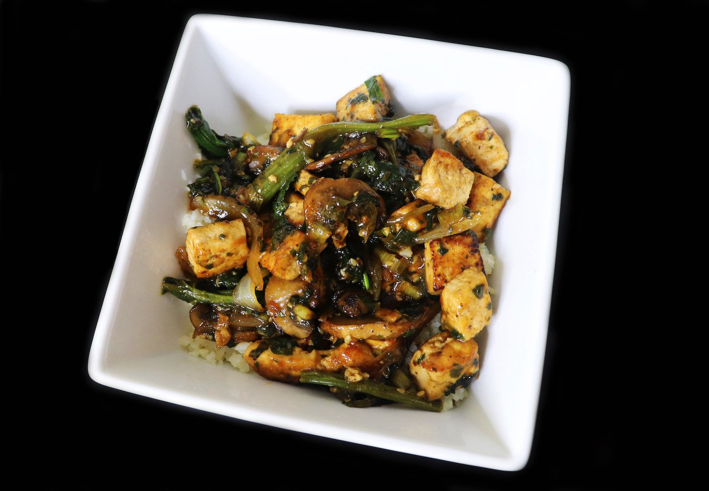 Tofu Stir Fry with Mushrooms & Spinach Recipe