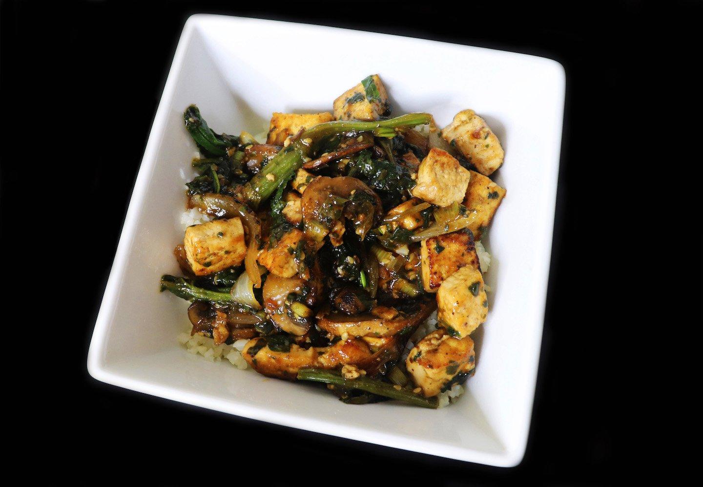 Tofu Stir Fry with Mushrooms & Spinach Recipe