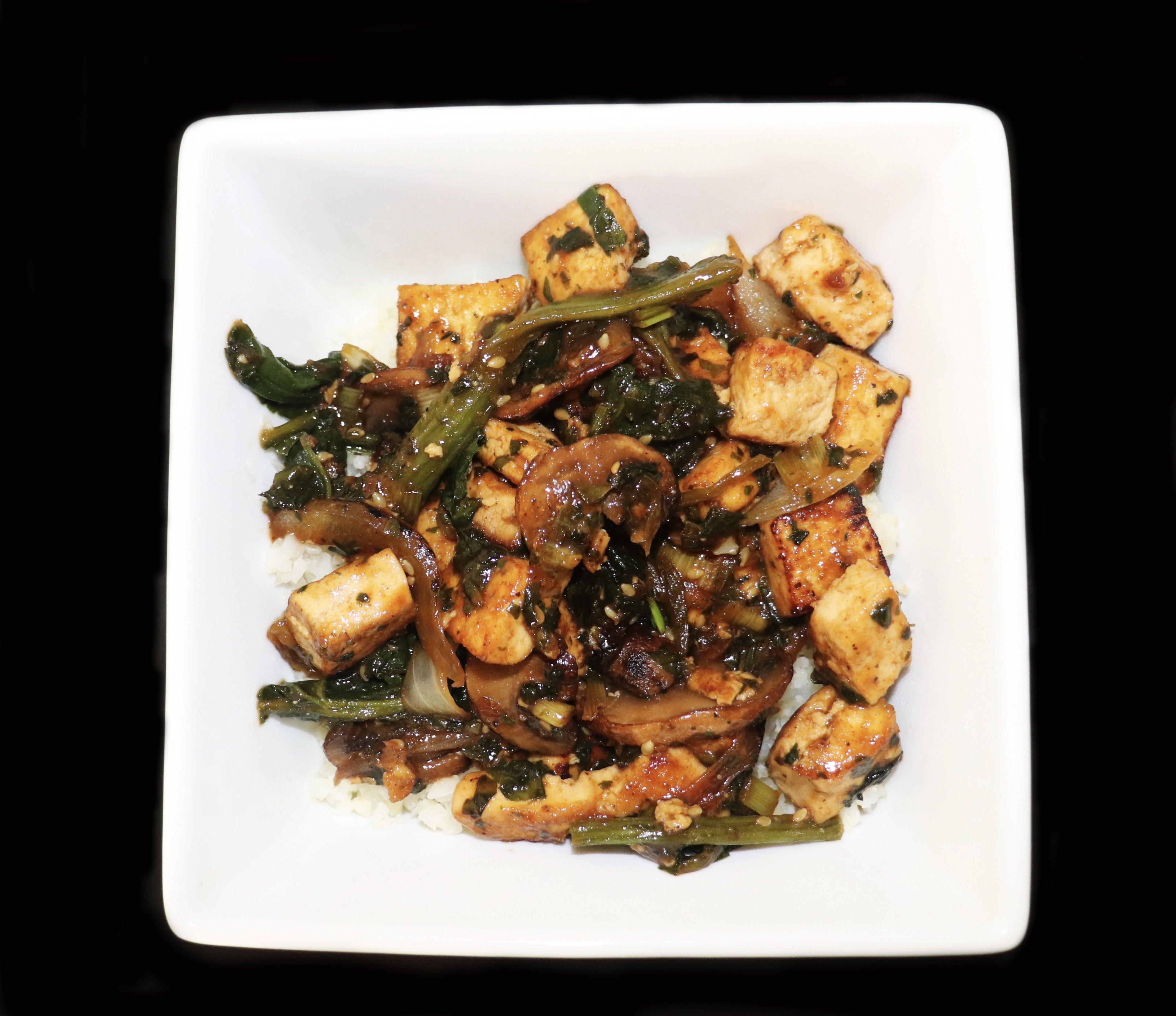 Tofu Stir Fry Recipe With Mushrooms & Spinach