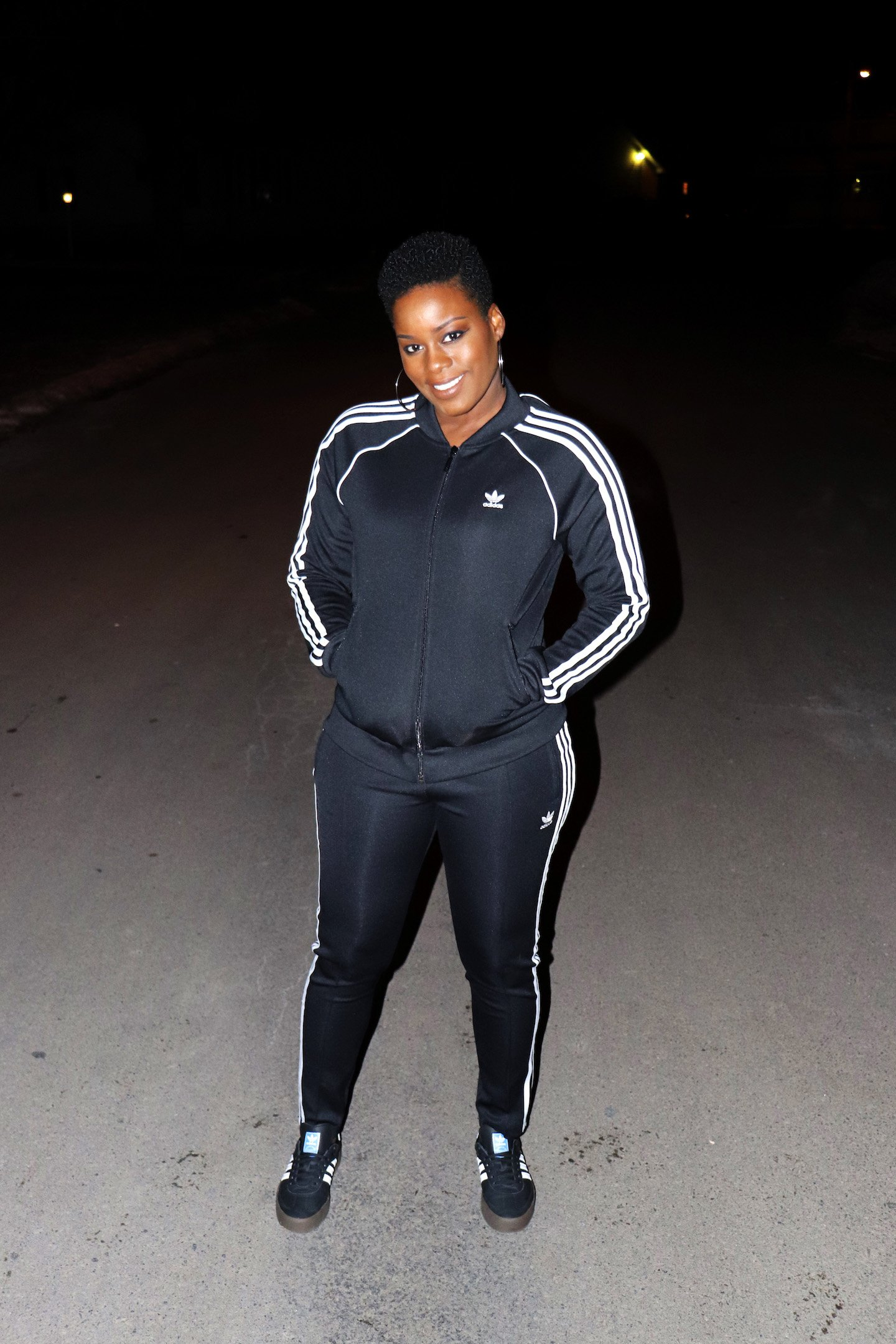 Adidas SST Track Suit and Samba Rose Sneaker Outfit