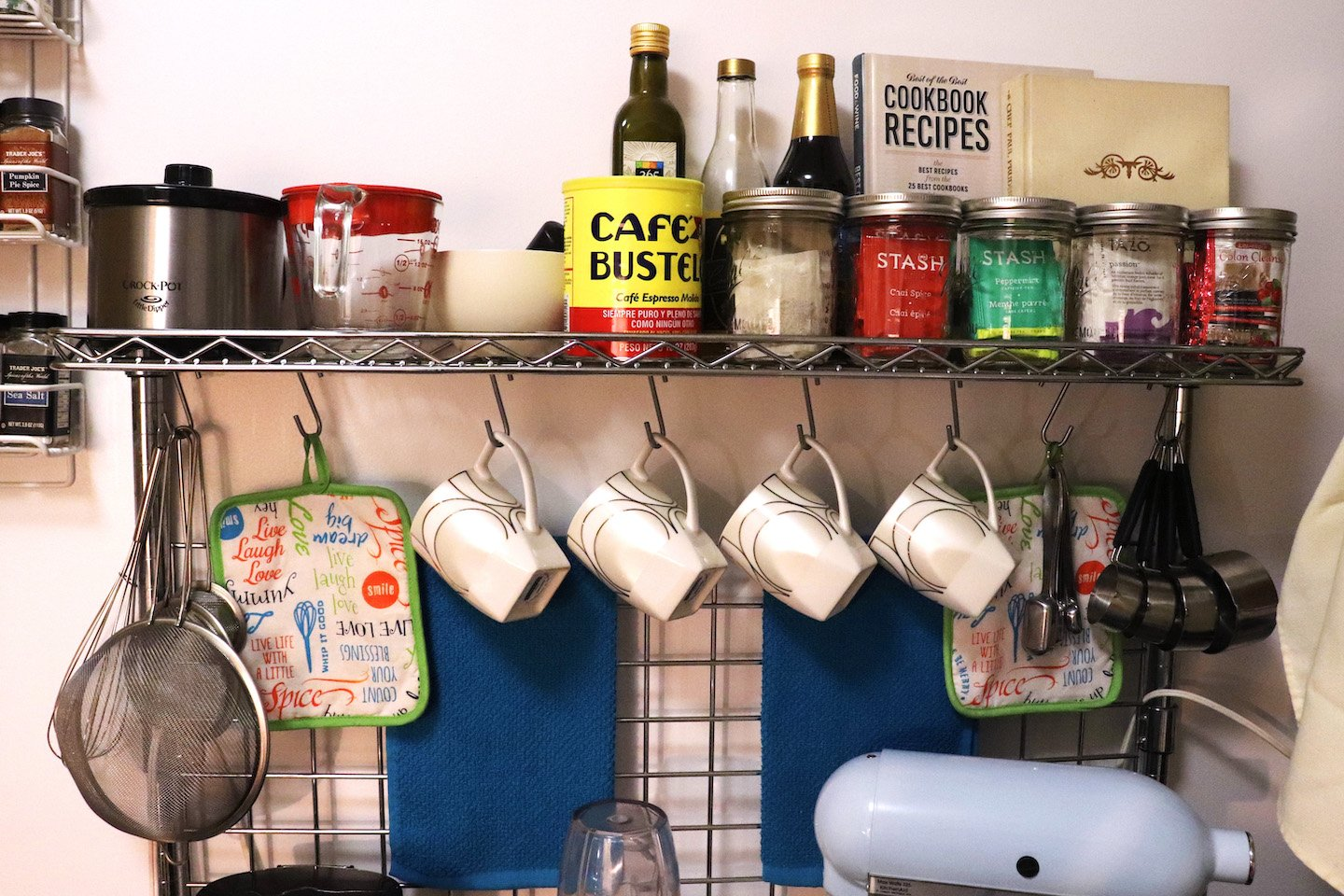 Bakers Rack Coffee Bar in Small Kitchen