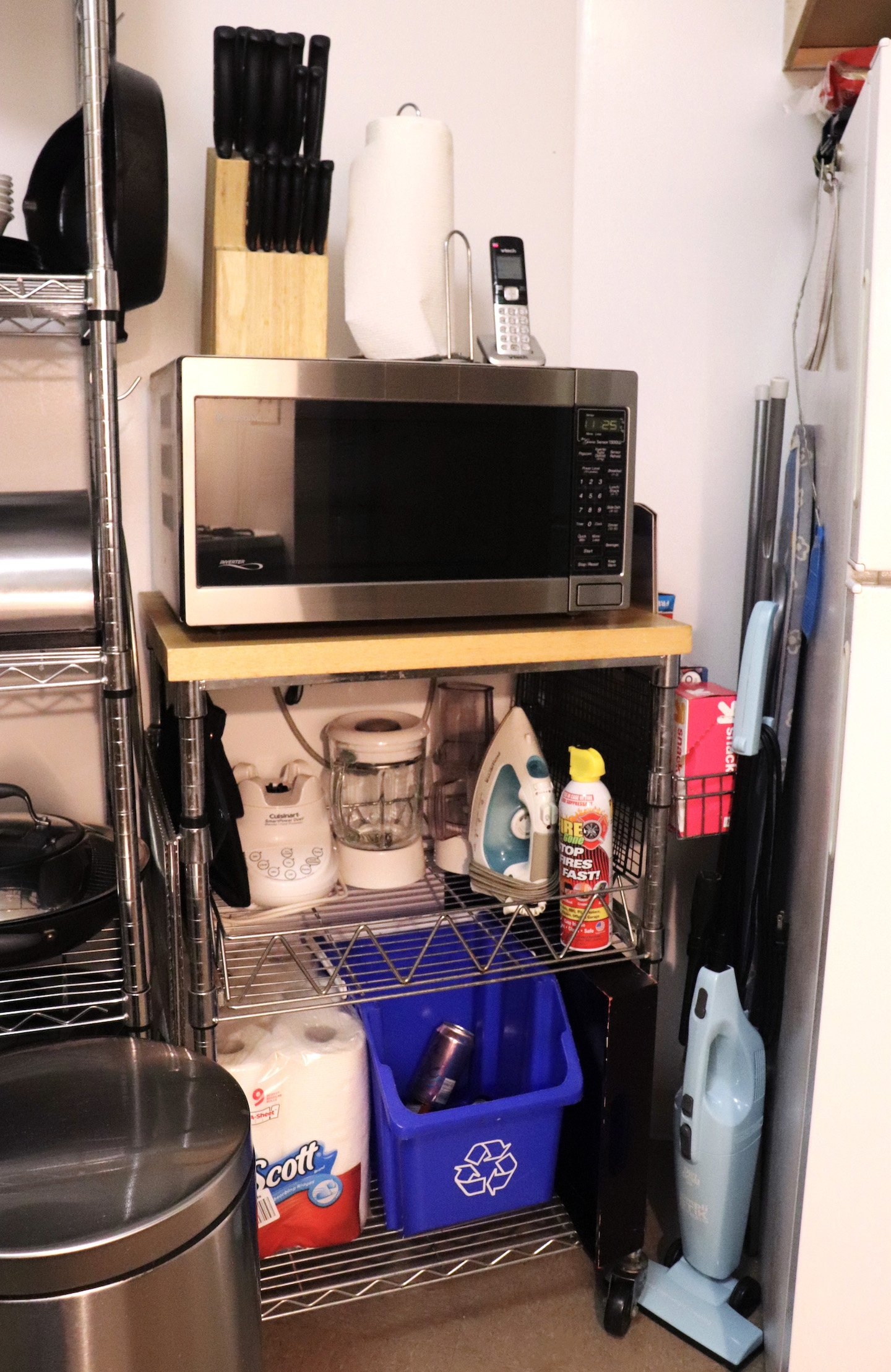 Small Kitchen Microwave Cart