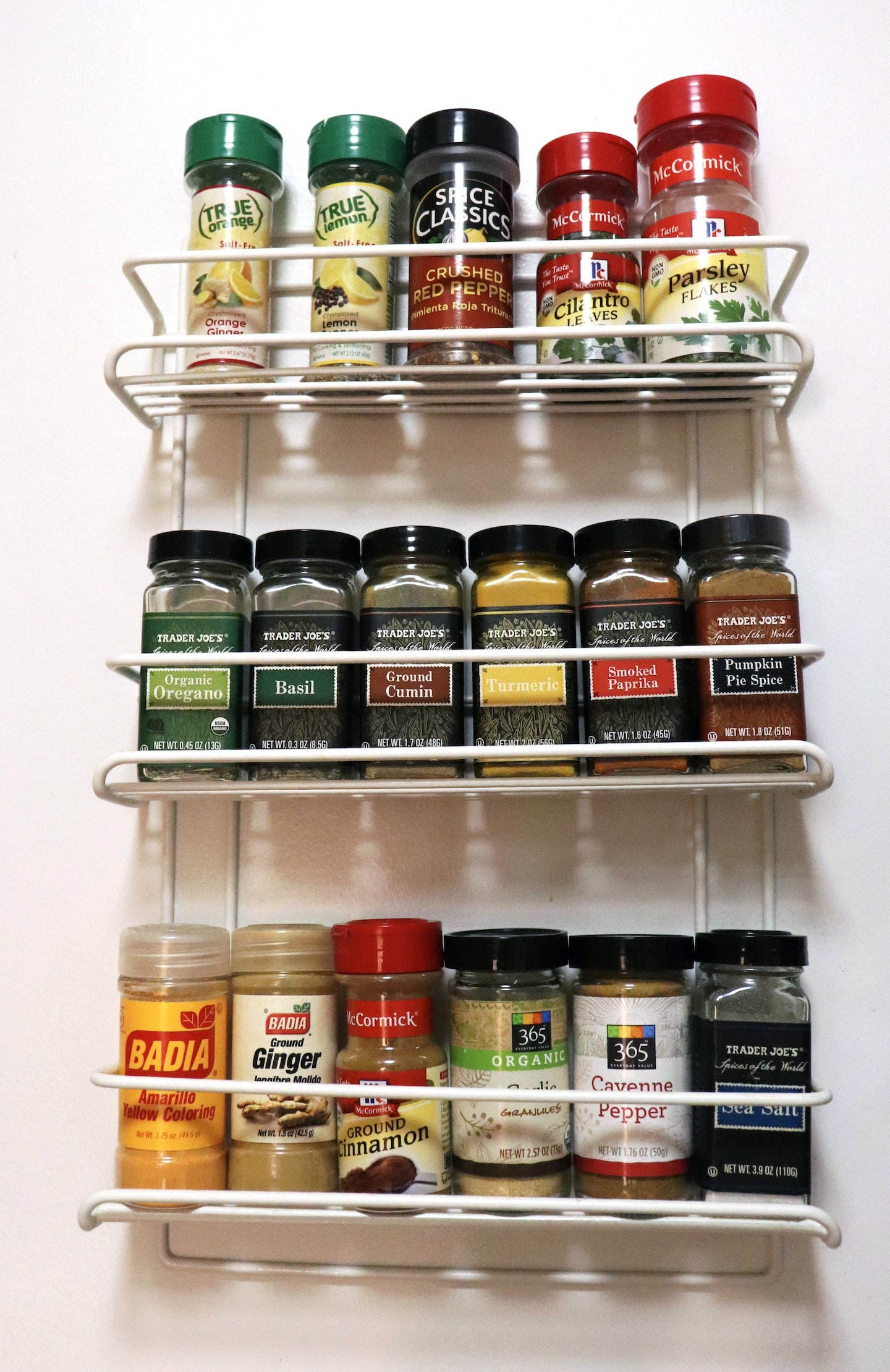 Wall Mounted Spice Rack In Small Kitchen