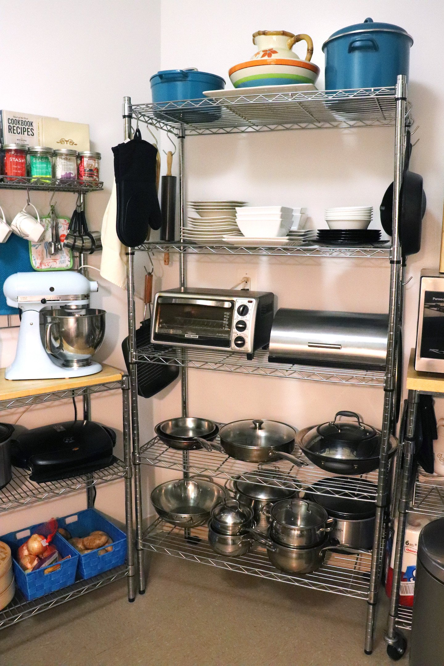 Create More Space in Small Kitchen with Wire Shelving Rack