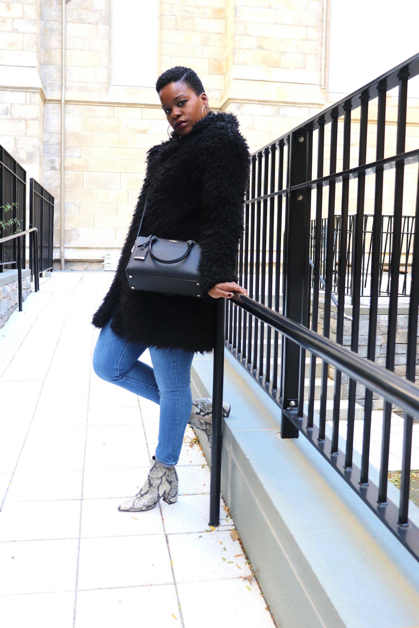 Kate Spade Large Lane Bag Faux Fur Coat Snakeskin Boots Outfit