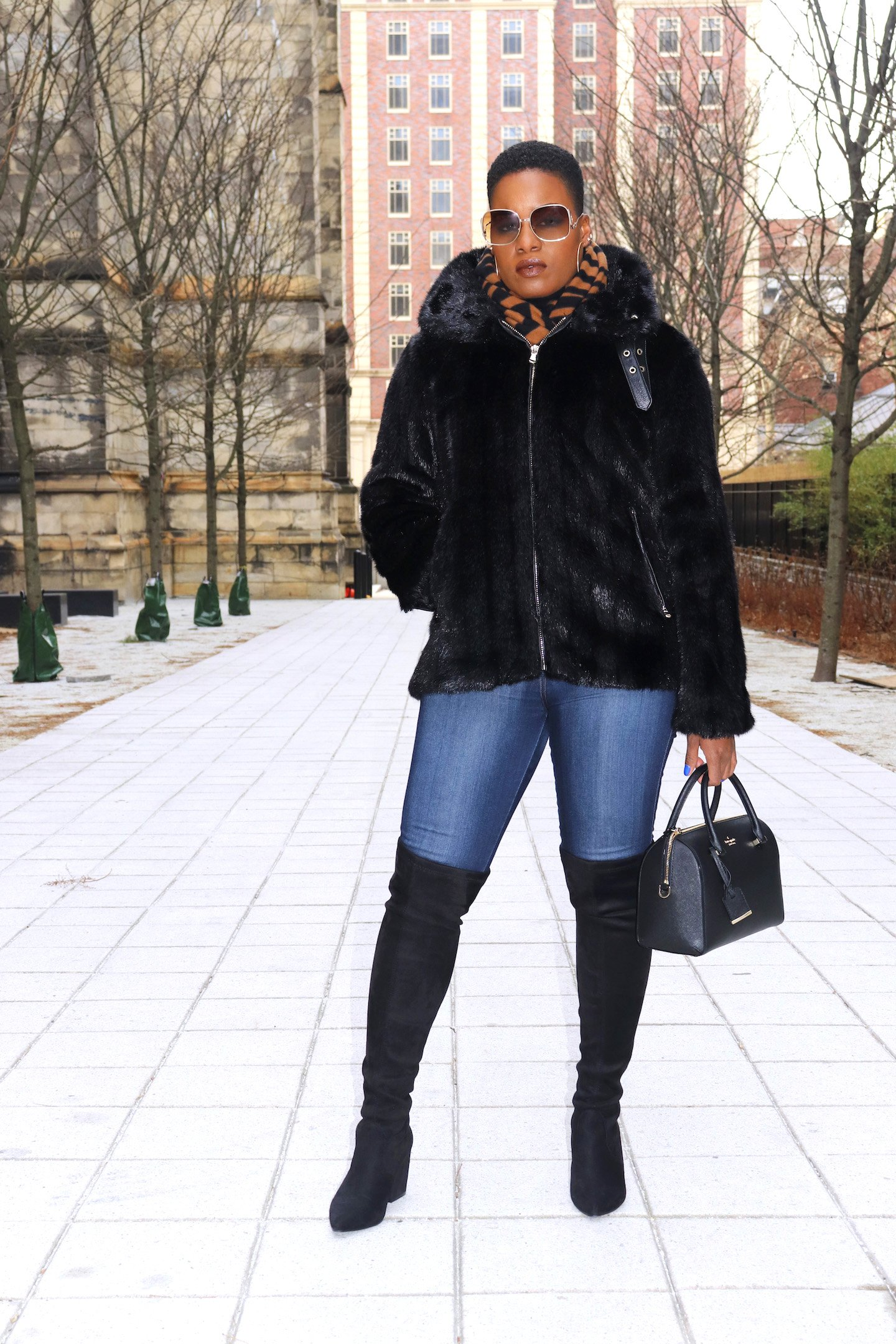 Faux Mink Biker Jacket Outfit