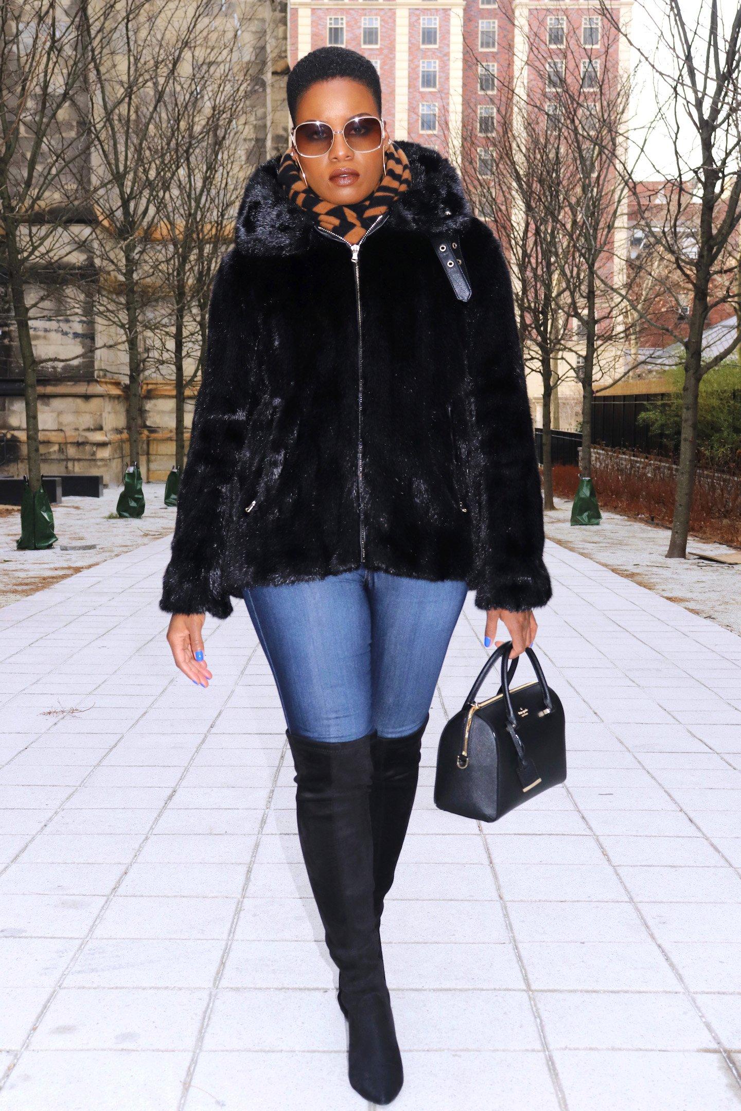 Zara Faux Mink Biker Jacket