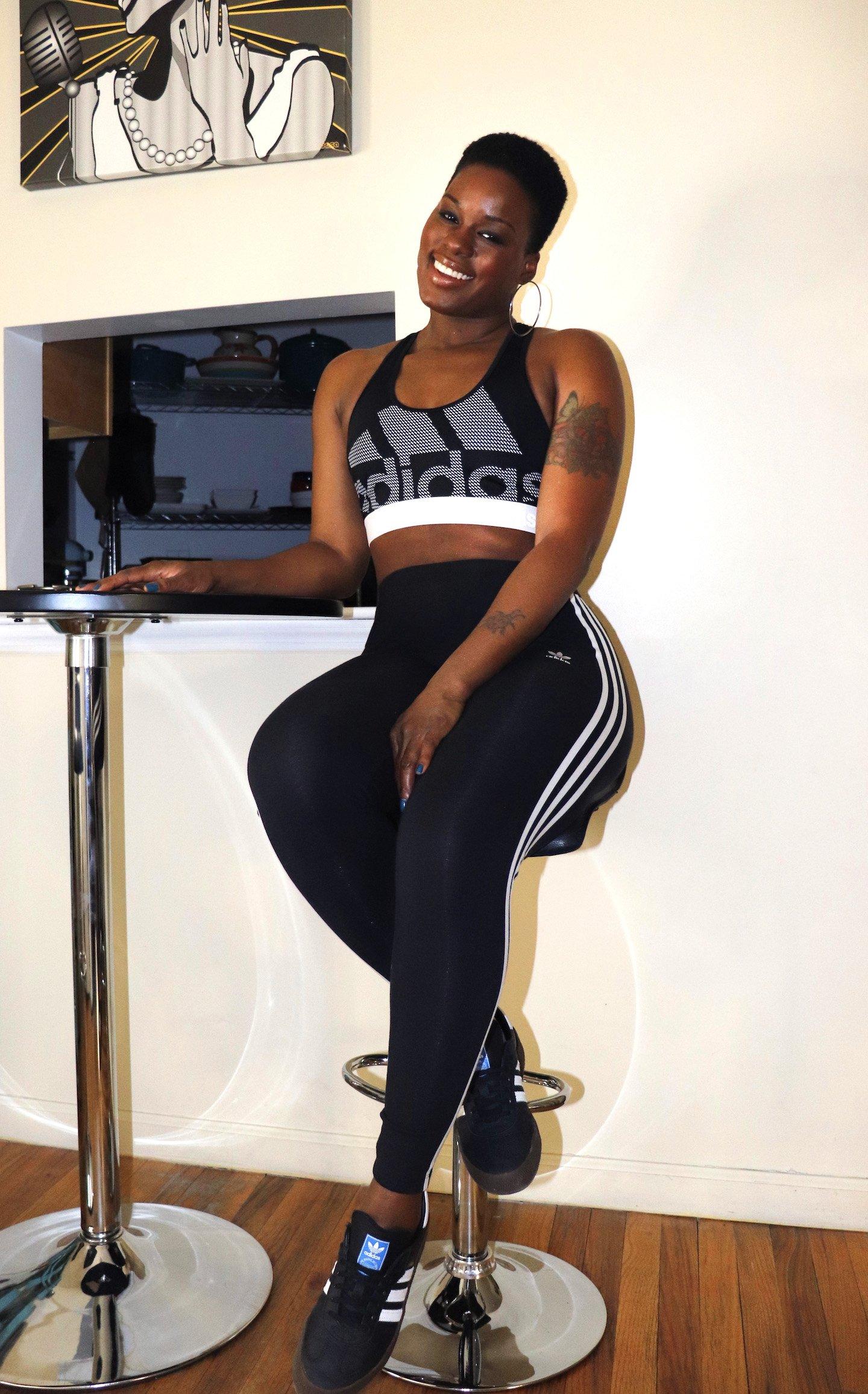 adidas Don't Rest Alphaskin Bra paired with 3 Stripe Leggings and Samba Rose Kicks