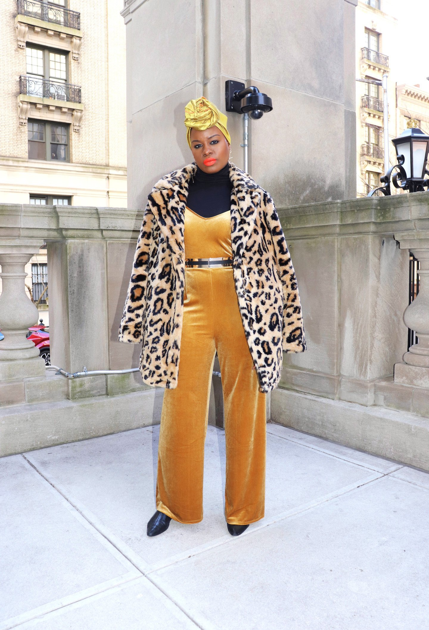 Velvet Jumpsuit with Leopard Coat and Headwrap Outfit